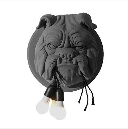 XWZH Tierkopf Wandleuchte Wohnzimmer Esszimmer Study Schlafzimmer Personality Kreative Designer Ktv Bulldog Wandleuchte (Color : Black)