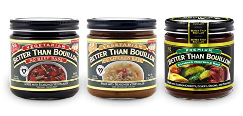Better Than Bouillon Variety Pack- No Beef Base, No Chicken Base, & Vegetable Base 8oz jars (3 Pack; 1 each) in a Prime Time Direct Sealed Bag