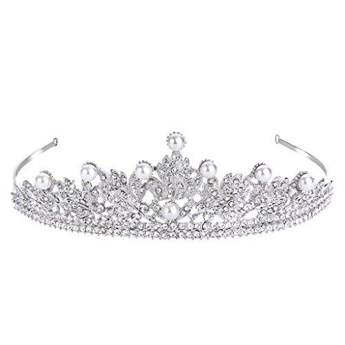 FANZE Damen Österreichen Kristall Cream Künstliche Perlen Viktorianisch Stil Blume Blatt Braut Krone Diadem Haarband