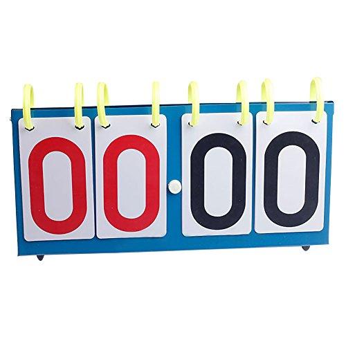 MOOUK 4-digitale, tragbare Tischanzeigetafel, Punktezähler, Flip-Punktetafel für Volleyball, Basketball, Tischtennis, Fußball (blau)