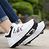 jianchi Skating Shoes,Girls Boys Wheels Adult Women and Men Wheels Deformation Roller Shoes Premium Wheeled Heel Shoe Two Rounds of Sports Sneaker Skates (Color : A, Size : 41)