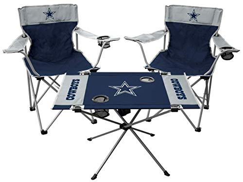 Rawlings NFL 3-Piece Tailgate Kit, 2 Gameday Elite Chairs and 1 Endzone Tailgate Table, Dallas Cowboys