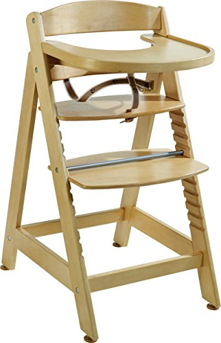 roba Treppenhochstuhl 'Sit Up MAXI', extragrosser Holz Hochstuhl inkl Essbrett und Bügel, mitwachsend vom Babyhochstuhl bis zum Jugendstuhl, natur
