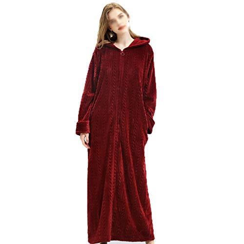 YCLOTH Womens Housecoa gewaad, flanel dressing jurk zachte badjas volledige lengte met rits warm Badjas, met zakken dames Housecoa gewaad