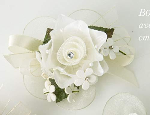 6 PEZZI SARA Fiore ramo artificiale tondo AVORIO da 12 cm