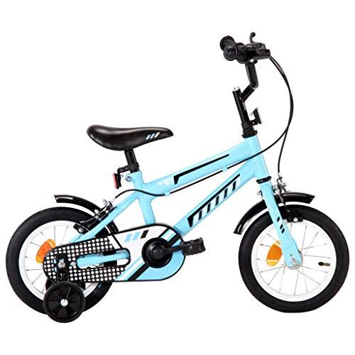 vidaXL Kinderfahrrad mit Stützrädern Höhenverstellbarer Lenker Jungenfahrrad Kinderrad Spielrad Fahrrad Rad für Kinder Junge 12 Zoll Schwarz Blau