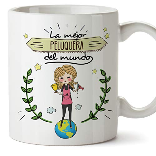 MUGFFINS Peluquera Tazas Originales de café y Desayuno para Regalar a Trabajadores Profesionales - La Mejor Peluquera del Mundo - Cerámica 350 ml