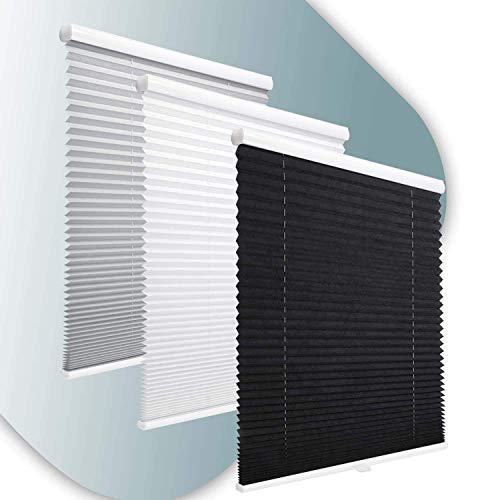 KINLO seillos Plissee Rollos für Fenster ohne Bohren verdunkelung Easyfix klemmträger verspannt 60 * 130 schwarz Verdunkelungsrollo Klemmfix Sonnenschutz für Fenster & Tür