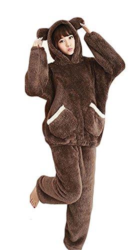 Landove Pigiama Due Pezzi Donna Invernale Travestimento Cosplay Costume da Gatto Orso Polare Caldo Morbida Flanella Pigiami Animali Interi e Camicie da Notte Sleepwear Regalo di Compleanno Natale