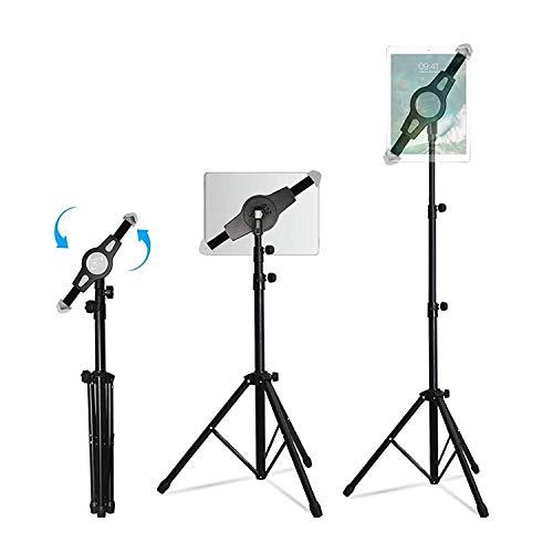 WER Trípode Soporte Tablet, Universal Soporte Trípode con Altura Ajustable, Trípode Telescopio de 360°Giratorio para iPad/iPad2 Mini y Otras Tabletas de 7-12 Pulgadas