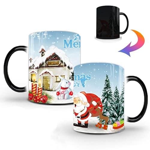 Tazza natalizia con Babbo Natale, tazza da caffè Johiux, tazza da caffè per ufficio e casa, termocromica è un regalo di Natale per familiari e amici (Natale 1)