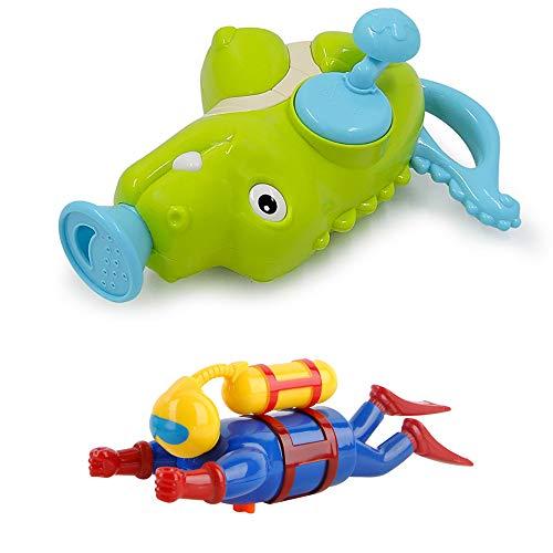FZTX-LPX Kinder Wasser Dusche Wasserspielzeug Kleinkind Brunnen,Krokodil Wassersprühspielzeuguhrwerk Taucher Badewanne Pool Passend Für Baby Ab 18 Monate
