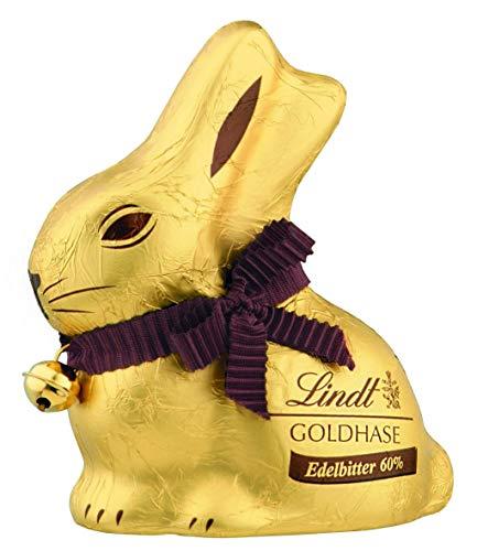 Lindt Goldhase - Premium Edelbitter-Schokolade zu Ostern, 60% Kakaoanteil, 4er Pack (4 x 100 g)