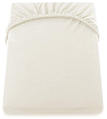 DecoKing 200x220-220x240 cm Spannbettlaken Ecru 100% Baumwolle Jersey Boxspringbett Spannbetttuch Bettlaken Betttuch Ivory
