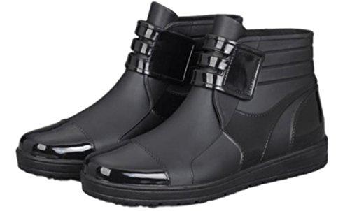 メンズ レイン ショート ブーツ 防水 軽量 ショート シューズ シンプル カジュアル 長靴 ビジネス レインブーツ ベルクロ 筒 作業 靴 ファッション ノンスリップ ウォーターシューズ 完全防水 PVC ブラック 27cm (27cm, ブラック)