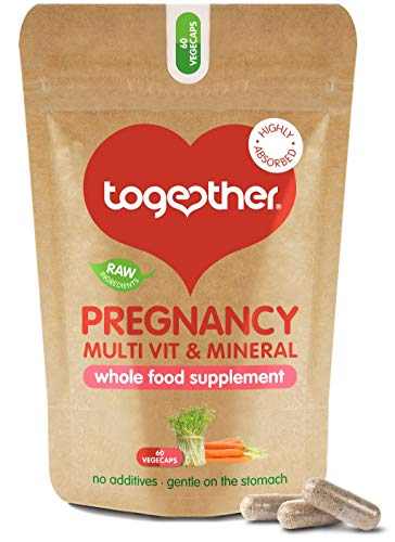 Pregnancy Multi Vitamin and Mineral – Together Health – Recommended During Conception, Pregnancy & Breastfeeding – Includes 400mcg Folic Acid – Vegan Friendly – Made in The UK – 60 Vegecaps