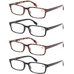 4 pairs of men and Women reading glasses at 1 low price with colors available: black tortoise. Lightweight plastic frames and plastic lenses with flexible spring hinge temples ensure a comfortable fit without uncomfortable pinching. Classic rectangul...
