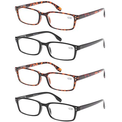 READING GLASSES 4 Pack Spring Hinge Comfort Readers Plastic Includes Sun Readers 2 Black 2 Tortoise 150