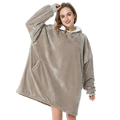 LetsFunny Oversized Hooded Blanket Sweatshirt, Super Soft Warm Comfortable Sherpa Wearable Blanket with Giant Pocket, for Adults Men Women Teenagers Kids, One Size Fits All (Grey, Adult)