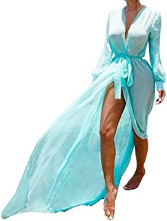 BEESCLOVER Beach Cover Ups Tunic Pareos Swimwear Women Bikini Long Sleeve Bandage Cardigan Cover Up Chiffon Swimsuits Beach Swim Wear