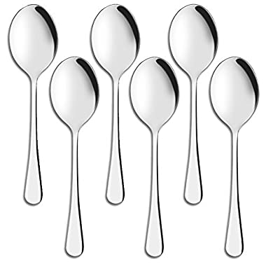 Serving Spoons,AOOSY 10 Inches Stainless Steel Large Buffet Banquet Flatware Kitchen Basics Serving Spoon Big Ladle Set of 6