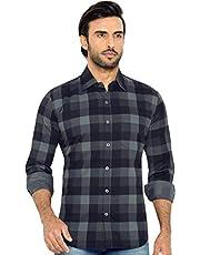 GLOBALRANG Men's Checkered Gray Casual Stylish Shirt for Men