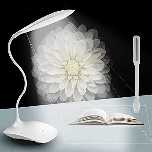 Lampada da Scrivania + Portatile Mini LED USB Light,Lampada Ricaricabili con Braccio Flessibile Del Collo (Eye-Care/ 3 Livello Luminosità/Dimmable Touch) - per Stanza/Ufficio/Lettura/Lavoro