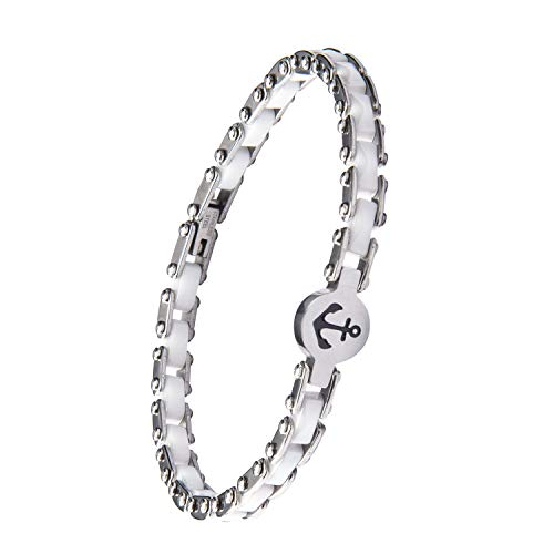 Mz Jewelry Women's Ceramic Bracelet Stainless Steel Link Bracelet 8inch (White, boat anchor)