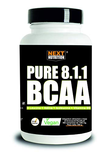 BCAA 8: 1: 1 500 Tablets 1300MG Next Nutrition Branched Amino Acid Supplement 811 A lto Dosage of Leucine Gluten Free Without Lactose Muscle Mass Increase Promotes Recovery