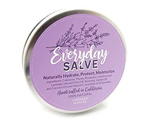 Lavender Salve 100% All Natural & Organic Balm | By Everyday Salves | All Purpose, Healing & Moisturizing Salve | Lip Balm ● Repair Salve for Itchy Irritated Skin & Dry Cracked Feet ● 2oz