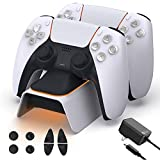 NexiGo Upgraded PS5 Controller Charger with Thumb Grip Kit, Fast Charging AC Adapter, Dualsense Charging Station Dock for Dual Playstation 5 Controllers with LED Indicator, White