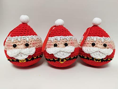 Set 3 Palle Di Natale Con Babbo Natale. Decorazioni Natalizie. Palline Sfere Ornamenti Per Albero Di Natale. Decorazione Casa. Fatto A Mano Ad Uncinetto In Lana. Idea Regalo O Da Collezione Handmade