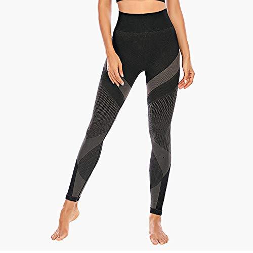 YYMY Respirable Alta Cintura EláSticos Running,Las Mujeres Imprimen los Pantalones de la Aptitud del Remiendo, Pantalones de Yoga de Las Polainas Femeninas-BK_S