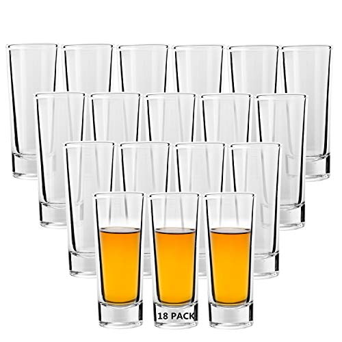 Shot Glass, RUCKAE 2-Ounce Shot Glasses with Heavy Base, Clear Shot Glasses Set of 18 (Cylinder Shaped)