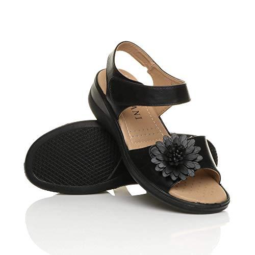 Womens Ladies Low Wedge Heel Hook & Loop Strap Flower Comfort Sandals Size 7 40 Black