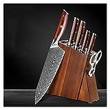 Xizdth Acacia Cuchillo de Madera Bloque de Cuchillos de pie Conjunto HERRAMIENTO DE Accesorios DE Cuchillo DE Cuchillo DE Acero Damascus con Mango de Palisandro