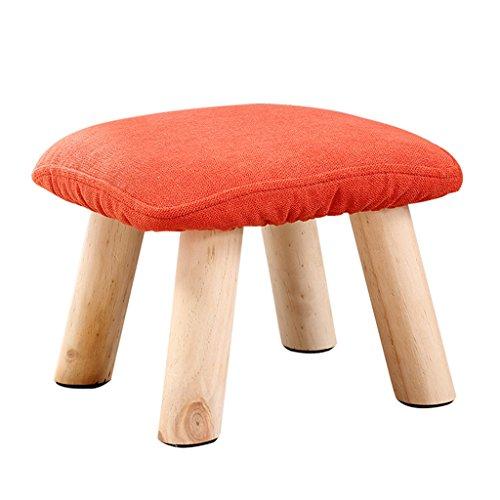 Mode couleur tissu solide bois tabouret canapé tabouret enfants simple tabouret 28 * 28 * 20cm (Color : Red)