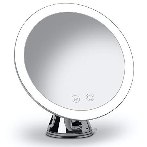Fancii Specchio Ingranditore 10x Ricaricabile con 3 Impostazioni di Luce a LED e Ventosa Potente - 20 cm Specchio per Il Trucco del Bagno Dimmerabile Illuminato, Lana (Cromato)