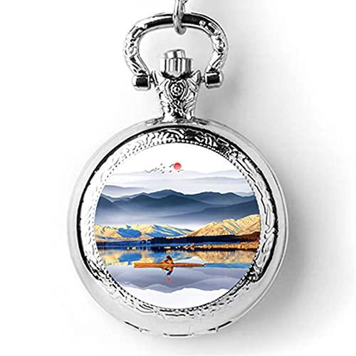 HNHYNSY Reloj de bolsillo de aleación con pintura de tinta para hombres y mujeres, regalo nostálgico de 1,5 pulgadas para niños con cadena (color A: A)