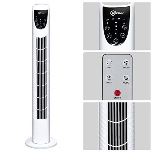 Karpal Ventilador de torre de 40 W, 3 niveles de velocidad, función de temporizador de 7,5 h, ventilador de columna de 78 cm, oscilación de 75°, con mando a distancia, modelo 2020, color blanco