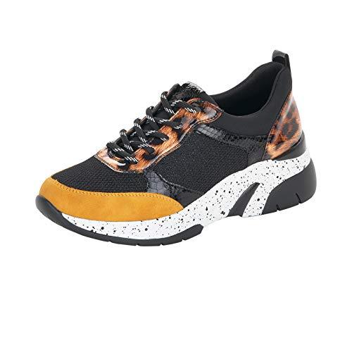 Remonte Damen Schnürhalbschuhe, Frauen sportlicher Schnürer, Ugly-Sneaker weiblich,Schwarz(Honig),40 EU / 6.5 UK
