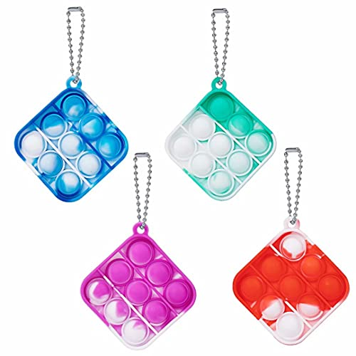 5 Pcs Simple Fidget Toy Pop Fidget Toy Mini Stress Relief Hand Toys Keychain Toy Push Pop Bubble Wrap Pop Anxiety Stress Reliever Office Desk Toy for Kids Adults (Square)