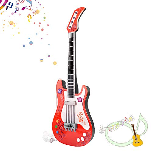 M SANMERSEN Kids Guitar No String Electronic Toy Guitar Kids Play Guitar Music Instruments Party Favor Birthday Gift for Kids Boys Girls