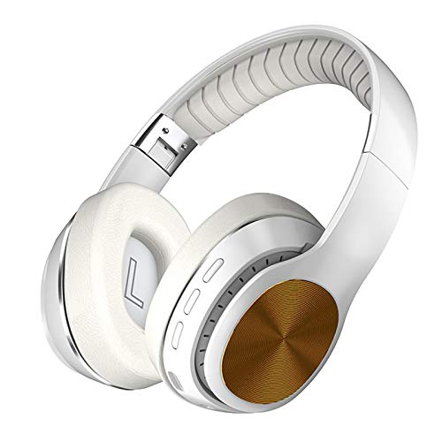 HiFi Wireless Headphones Bluetooth Foldable Headset Support TF Card/FM Radio/Bluetooth AUX Stereo Headset With Mic Deep Bass White