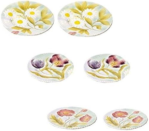 Fa cerie de Niderviller  Barbotin – rel6639, Set de 6 assiettes à Dessert Fleurs