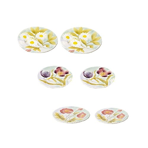 Faïencerie de Niderviller ~ Set de 6 Assiettes à Dessert Fleurs Barbotine faïence