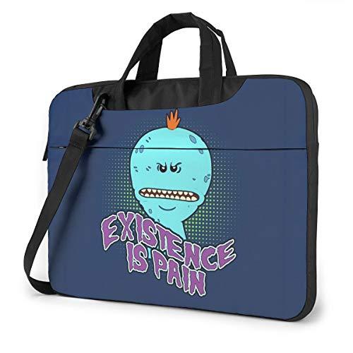 13-15.6 Inch Water-Repellent Laptop Crossbody Messenger Bag, Cartoon Mr Meeseeks Existence is Pain Poster Backpack with Adjustable Strap, Computer Carrying Case for Tablet Chromebook