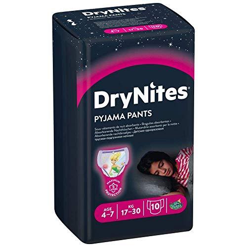 Huggies DryNites - Pannolini da notte ad alta assorbenza, per bambine 4-7 anni, 1 confezione da 10 (17-30 kg)