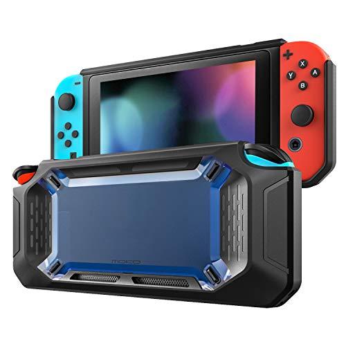 MoKo Funda Compatible con Nintendo Switch, Resistente Delgado Protector Duro Carcasa del Switch , Amortiguación y Antiarañazos para Consola Nintendo Switch y Joy Con Controllers 2017 - Azul y Negro