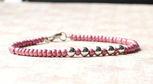 World Wide Gems - Pulsera de plata de ley 925 de 3 a 5 mm, color rosa